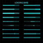 A Loading Bar. A Set Of Led, Luminescent Loading Indicators. Graphic Display. Vector Illustration poster