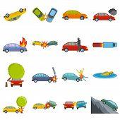 Accident Car Crash Case Icons Set. Flat Illustration Of 16 Accident Car Crash Case Vector Icons Isol poster