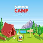 Summer Camping Vector Cartoon Illustration. Adventures, Travel And Eco Tourism Concept. Touristic Ca poster