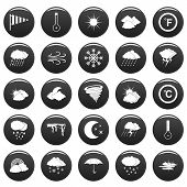 Weather Icons Set. Simple Illustration Of 25 Weather Vector Icons Black Isolated poster