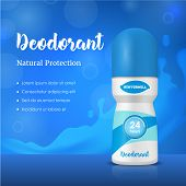 Realistic Detailed 3d Antiperspirant Deodorant Composition Ads Promotion And Advertising Concept Car poster