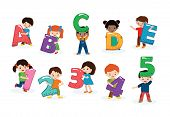 Kids Alphabet Vector Children Font And Boy Or Girl Character Holding Alphabetic Letter Or Number Ill poster