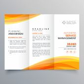 Trifold Brochure Template With Orange Wave Shapes poster