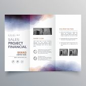 Creative Watercolor Trifold Brochure Vector Design Template poster