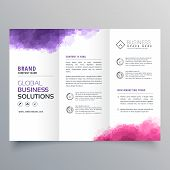Abstract Trifold Business Brochure With Watercolor Effect poster