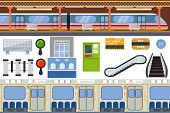 Subway Vector Metro Or Underground And Urban Public Transport In Tube Illustration Set Of Station In poster