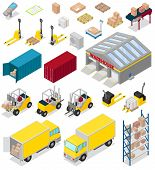 Warehouse Vector Distribution Storage Industry In Industrial Storehouse Of Warehouser Illustration S poster