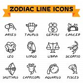 Zodiac Signs In Thin Line Style On White Background. Set Of Modern Vector Plain Line Design Icons An poster