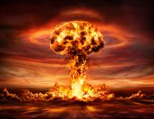 Nuclear Bomb Explosion - Mushroom Cloud After Big Explosion poster