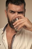 Bearded Hipster Drink Water. Water Consumption Concept. Thirst, Dryness, Drought. Health Diet Health poster
