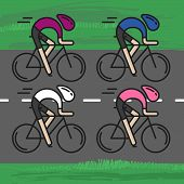 Modern Illustration Of Cyclists. Front View Of Bicyclists In Pink, Cyclamen, White And Blue Jerseys  poster