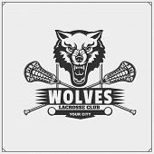 Lacrosse Club Emblem With Wolf Head. Vector. poster