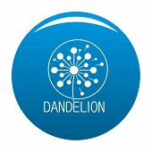 Faded Dandelion Logo Icon. Simple Illustration Of Faded Dandelion Vector Icon For Any Design Blue poster