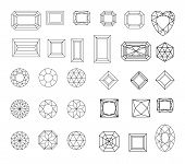 Diamond. Vector Set Of Gems Drawing Line. Crystal Forms. Geometric Shapes Of Precious Stones. Jewelr poster