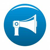 Single Megaphone Icon. Simple Illustration Of Single Megaphone Vector Icon For Any Design Blue poster