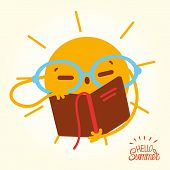 Happy Summer Sun Face Open Books And Reading.  Drawing Cartoon Sun In Glasses Readung Book On Vacati poster