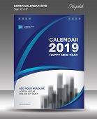 Blue Cover Desk Calendar 2019 Design, Flyer Template, Ads, Booklet, Catalog, Newsletter poster