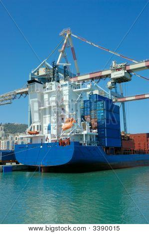 Cargo Ship In A Port