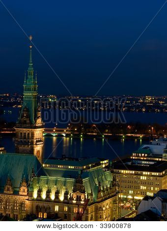 Hamburg at the evening.  hamburg town hall.  View from St. Nikolai Church tower.  Germany.