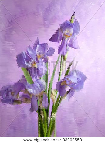 bouquet of spring purple Irises behind   embossed  glass. Still life.  It is photographed through glass. focus on near flower