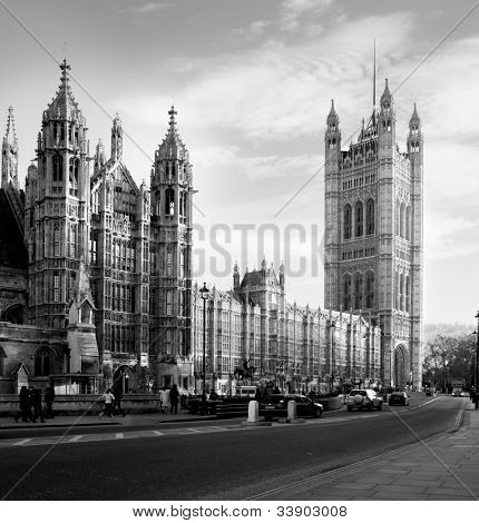 Houses of Parliament  in London UK view from Abingdon street. black and white
