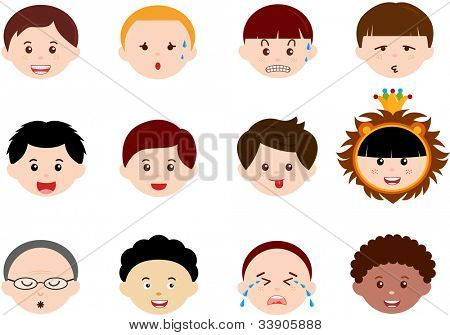 A Theme of cute vector Icons : Heads of Boys, Men, Kids (Male Set) Different ethnics, isolated on white background