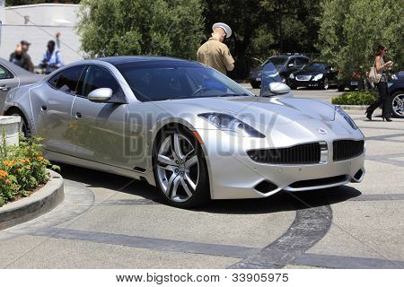 BURBANK - JUN 11: Fisker Karma electric car (Justin Bieber owns one too) on display at the 3rd Annual SAG Foundation Golf Classic at the Lakeside Golf Club on June 11, 2012 in Burbank, California