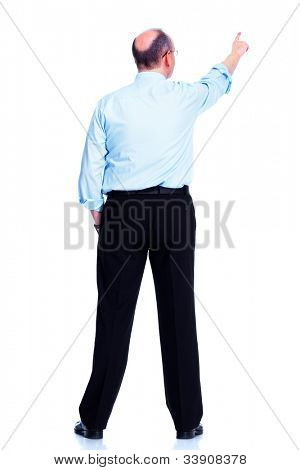 Back of businessman. Isolated over white background.