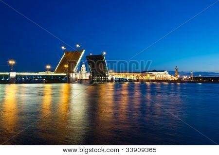Evening View Of Palace Bridge, St. Petersburg
