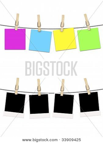 Blank Photographs And Postcard Noted  Hanging On Clothesline Over White