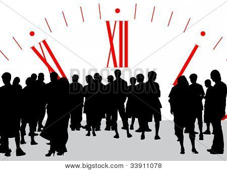 graphic group of businesswomen on background of clock