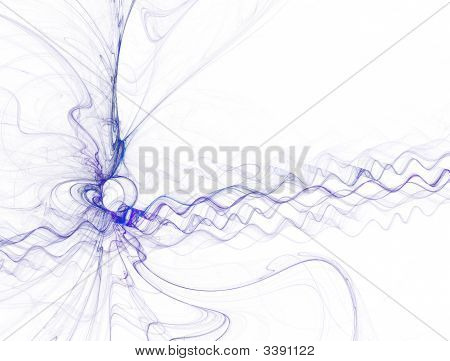 Blue Waves And Vortex On White Background