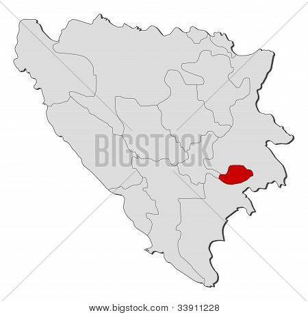 Map Of Bosnia And Herzegovina, Bosnian Podrinje Highlighted