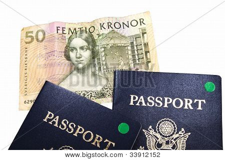 Swedish Currency With 2 Passports