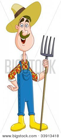 Friendly farmer with pitchfork