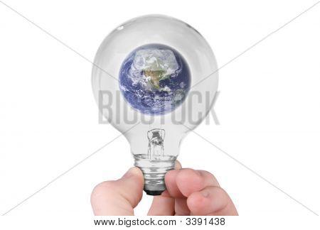 Planet Earth In Light Bulb