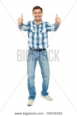 Excited Guy Showing Double Thumbs Up