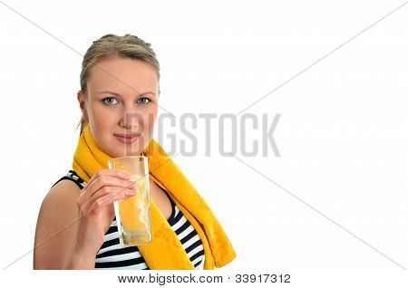 Attractive Woman With Glass Of Water, Isolated On White
