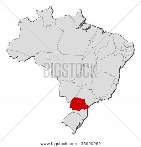 Map Of Brazil, Paraná Highlighted