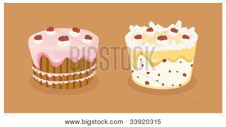 Vector Strawberry Cakes