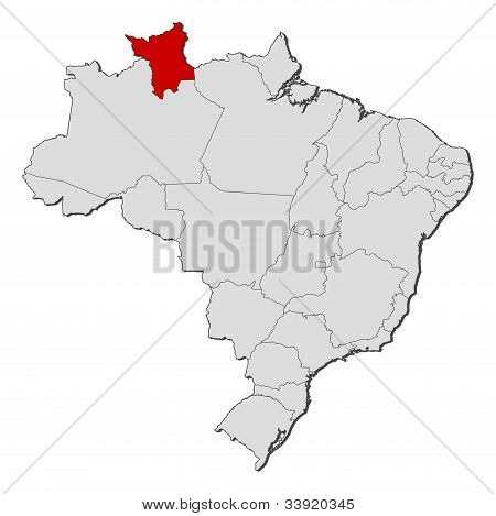 Map Of Brazil, Roramia Highlighted