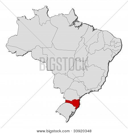 Map Of Brazil, Santa Catarina Highlighted