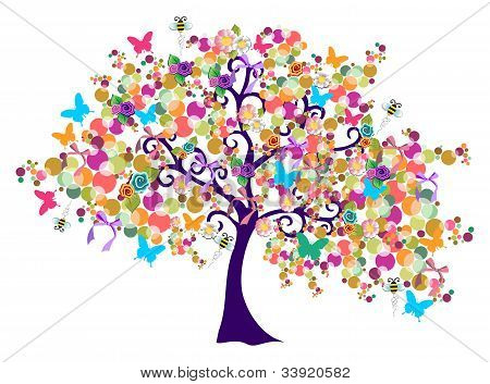 Abstract Spring Time Tree