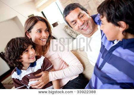 Family talking and a boy telling a story