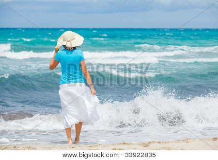 Beautiful woman and sea