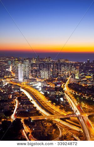 Aerial  View Of Tel Aviv At Sunset - Tel Aviv Cityscape