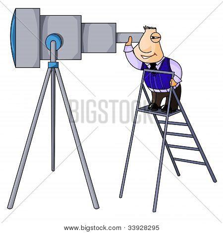 Businessman looks in telescope.