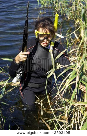 Underwater Fisherman Girl In Lake