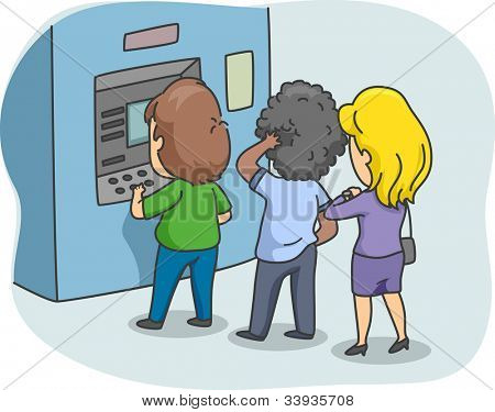 Illustration of People Queuing in Front of an ATM