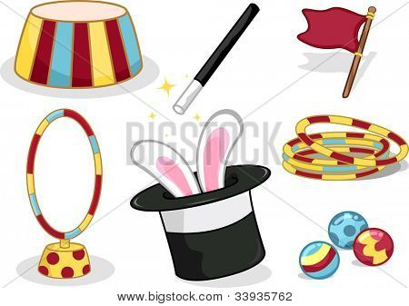 Illustration Featuring Circus Related Items
